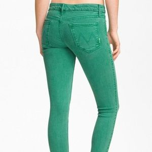 Mother the Looker Grass Green Skinny Jeans